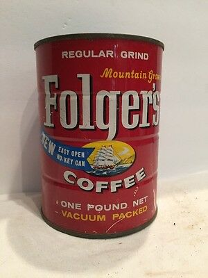 Vintage Folgers Coffee Tin NO KEY CAN ship mountain grown coffee can 1959