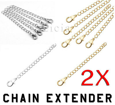 Silver Gold Plated Chain Extender Necklace Bracelet Extansion Lobster Clasp Claw