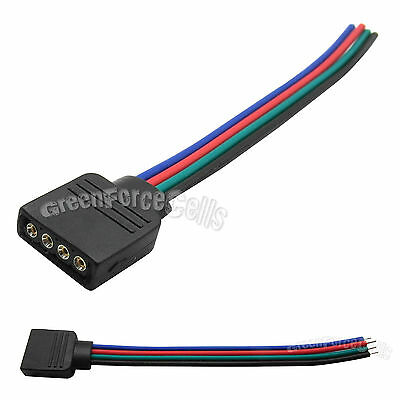5 pcs Female 4 Pin RGB Connector Wire Cable Cord For 5050 3528 LED Strip Lights