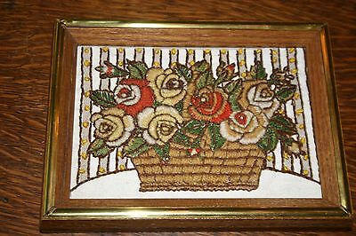 Two Small Shabby Chic Embroidered Pictures~Flowers and Antique Shop