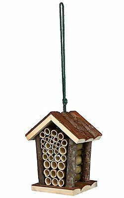 Natura Insect Hotel Pitched Roof Wooden Beehive Nature Twigs Gift 16x19x12cm