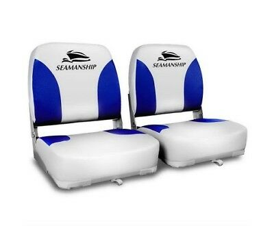 Set of 2 Swivel Folding Marine Boat Seats White Blue Boating Chair Stool Accesso