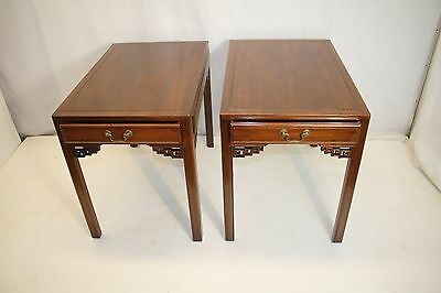 Pair of American Chippendale End Side Tables w/ One Drawer c. 1930
