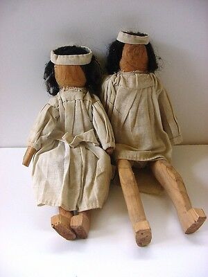 Antique Mission Wooden Dolls Male and Female, Primitive, Mexico