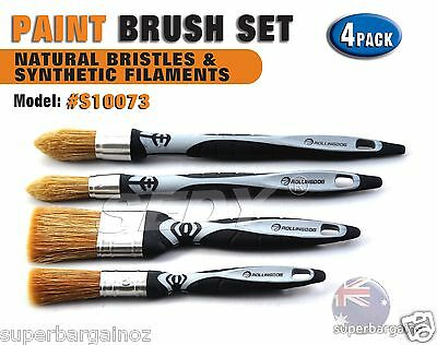 4 PC Natural Bristles Synthetic Filament Paint Stain Brush Set S10073