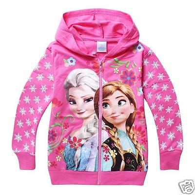 Frozen Elsa Anna Hoodie zipped jacket Sweater Jumper Girls  pink childrens kids