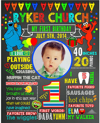 2 DAYS DELIVERY- Elmo Birthday chalkboard sign chalk board poster first 2nd #15