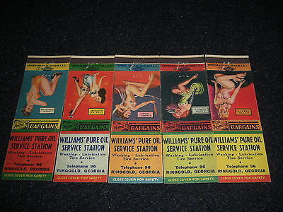 1947 William's PURE  Service Station Matchbook Covers  Set of 5  Girls