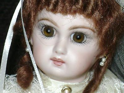 """Antique Jumeau / Bru Repro Milette Mohair Glass Eyes Silk 10.5"""" Jointed Bisque"""