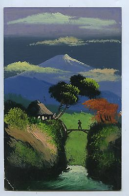 C1910 Scarce Hand Painted In Oil Postcard Japanese Scene Mt Fuji P70