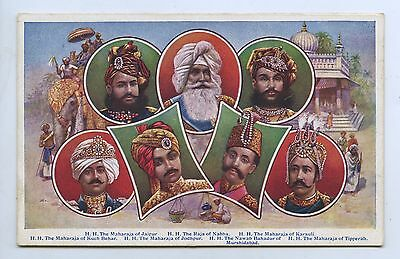 C1910 PT NPU POSTCARD RULING PRINCES OF INDIA JAIPUR/NABBA/KARAULI ETC q18