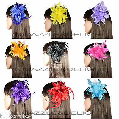 FLOWER FASCINATOR WITH FEATHER ON BEAK CLIP WEDDINGs RACES PROM HAIR FASCINATOR