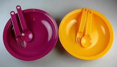 Two New Tupperware Large Deep Plate Orange Purple 700ml with One Cutlery Set (4)
