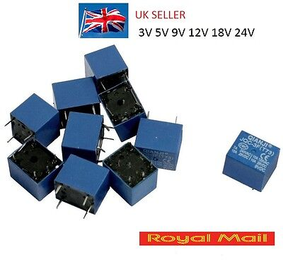 Mini Power Relay PCB type 3V 5V 12V  18V 24V DC coil 10A PCB 5 PIN NC NO UK