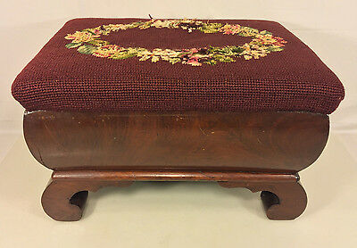 Antique Empire Style Flame Mahogany Stool with Embroidery Top 1850s to 1870s