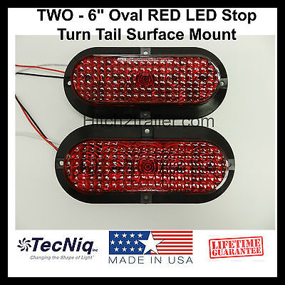 """2 - 6"""" Oval RED LED Stop Turn Tail Light Surface Mount Trailer Truck USA"""