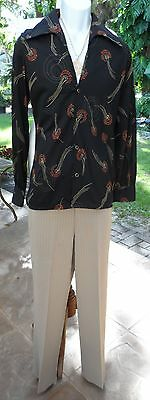 "80s 2Pc Man's Polyester Outfit: LS Print Shirt M, Checked Pants 35""w x 29.5Lg"