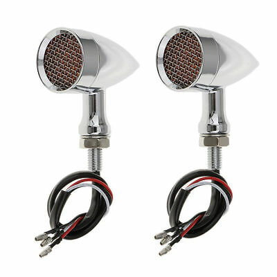 2x Motorcycle Metal LED Turn Signal Indicator Light 4 Harley Chopper Cafe Racer