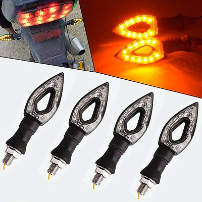 2Pairs 12V 10mm Bolt Knife Style Motorcycle LED Indicators Turn Signals Blinkers