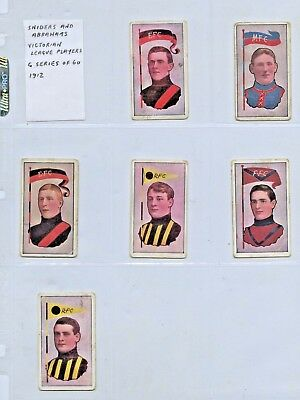 1912 SNIDERS & ABRAHAMS 6 CIGARETTE CARDS VFL PLAYERS (SET IS 60 CARDS) q81