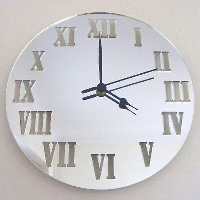 Round Roman Numeral Clock - Acrylic Mirror (Several Sizes Available)