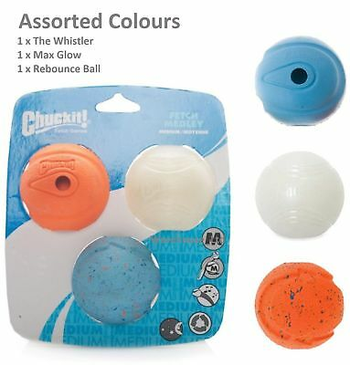 Chuckit! Fetch Medley, 3 Pack Assorted Medium Balls 6.5cm - Max Glow, Whistler