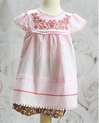 Girls 3pc Tunic dress & Shorts with headband  Summer Outfit Set 6M-3Y