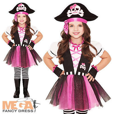 Dazzling Pirate + Hat Girls Fancy Dress Halloween Buccaneer Kids Childs Costume