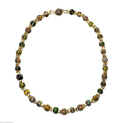 (0734) Necklace of Early Islamic Glass Beads Mount in 18k Gold