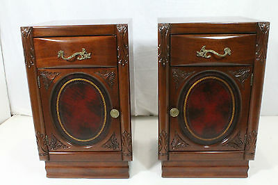 Pair of American Mahogany Nightstands with Leather Insert on Doors, Circa 1930's