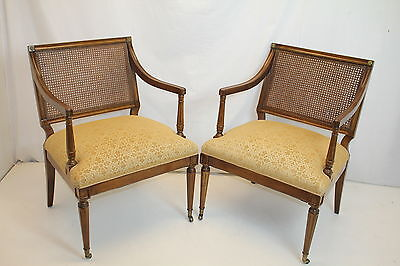 Gorgeous French Louis XVI Fruitwood Foyer Living Room Arm Chairs c. 1930's