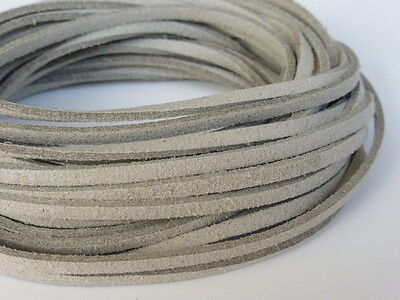 5m x 3mm Ecru Natural Stone Faux Imitation Suede Cord Thong Lace Necklace  (F71)