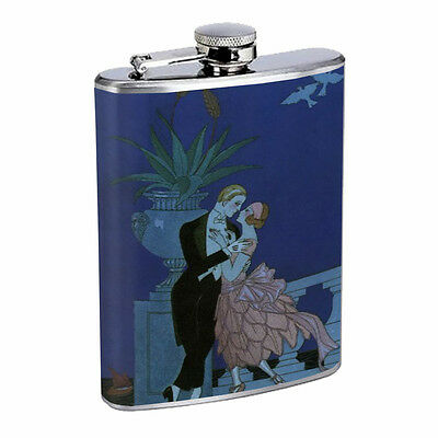 Vintage Art Deco Silver Hip Flask D7 8oz Stainless Steel Old Fashioned Retro