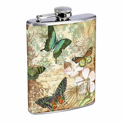 Vintage Butterfly Silver Hip Flask D4 8oz Stainless Steel Old Fashioned Retro