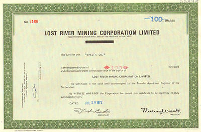 Lost River Mining   1972 Ontario old stock certificate