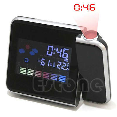 LCD Digital LED Projector Projection Alarm Clock Snooze Weather Station Calendar