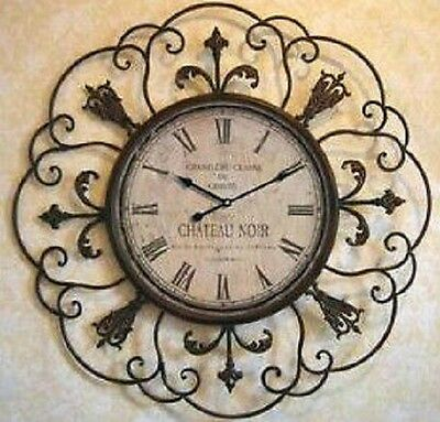 Extra Large Shabby Chateau Noir French Provincial Metal Wall Clock 110CM