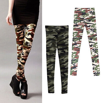 Hot Vogue Women Lady Girl Slim Camouflage Camo Stretch Pants Leggings Trousers