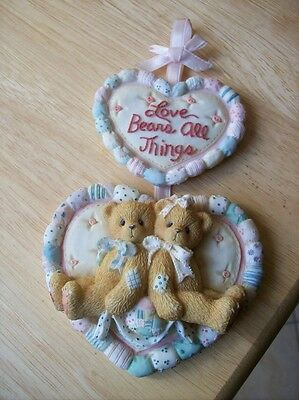 "*Cherished Teddies~""Love Bears All Things"" Plaque~1996 Priscilla Hillman Enecso*"