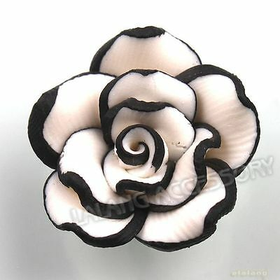 40pcs White Flower Black Edging Flatback Polymer Clay FIMO Spacer Charms Beads C