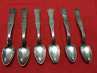 Antique Ottoman Silver Spoon Set Of 6 Spoons With 2 Tughra Each And Allah Ekber