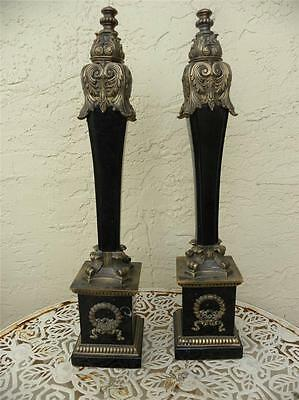 A Pair Of 19 C Amazing Marble And Brass Ormolu Grand Tour Columns Obelisks