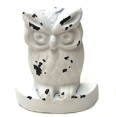 French Provincial Cast Iron Rustic White Owl Door Stop Stopper  Home Decor