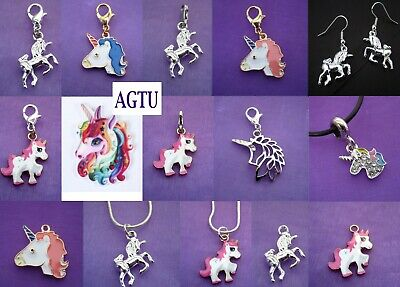 PICK CHARM Silver Plated Unicorn Clip On Earrings Necklace Loot Bag Party AGTU