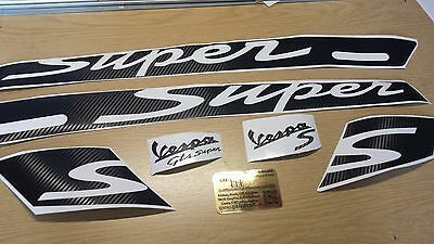 Carbon Vespa GTS Super Decal / Sticker Kit GT Super  125, 250, 300