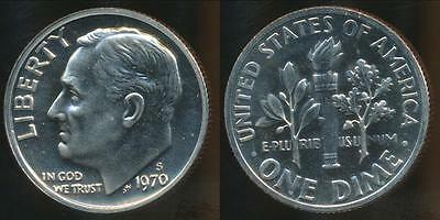 United States, 1970-S Dime, Roosevelt - Proof