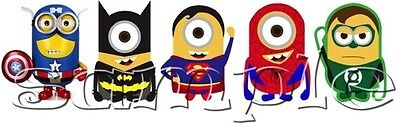 IRON ON TRANSFER MINIONS superhero batman superman spiderman captain america