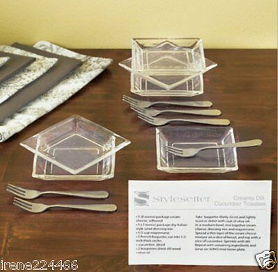 12pc Party Mini Taster Glass Plate & Stainless Forks Appetizer Set w/recipe NIB