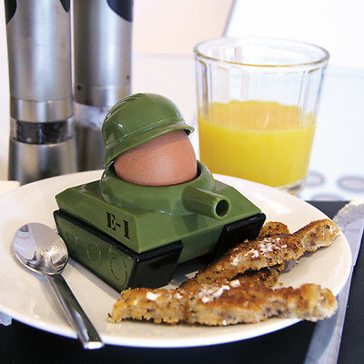 Egg-Splode Tank Egg Cup Toast Cutter Novelty Gift Army Military Kitchen fun