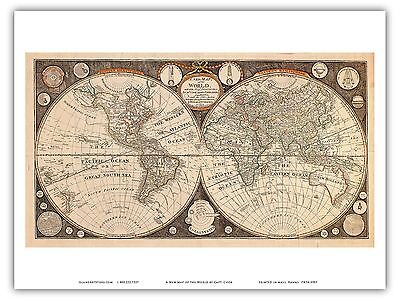 World Captain Cook Vintage Engraved Cartographic Map Art Poster Print